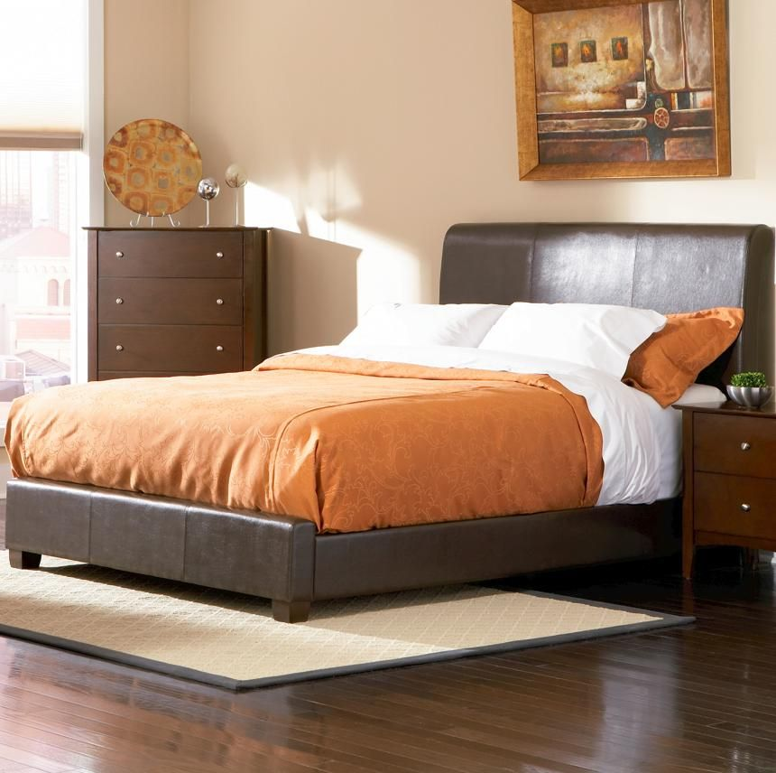 Coaster 201150kw brown leather california king size bed for Leather bedroom furniture