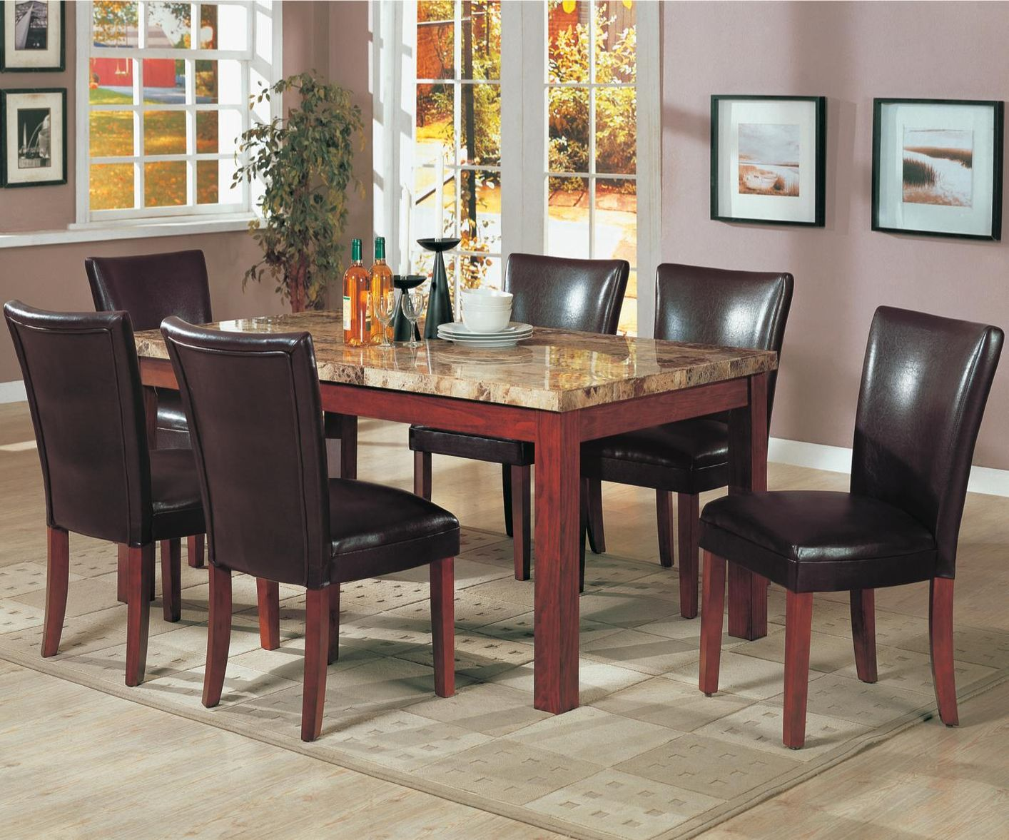 Telegraph Medium Brown Wood And Marble Dining Table Set