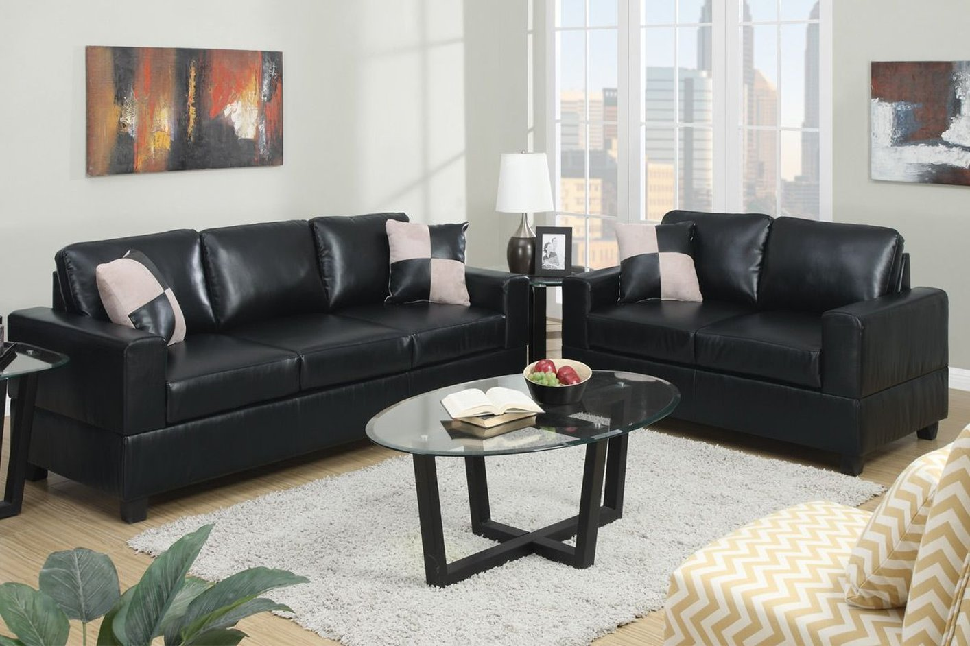 Poundex tesse f7598 black leather sofa and loveseat set for Leather sofa set
