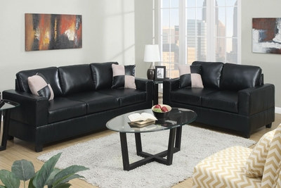 Tesse Black Leather Sofa and Loveseat Set