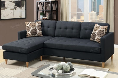 Toiba Black Fabric Sectional Sofa
