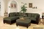 Katja Green Leather Sectional Sofa and Ottoman