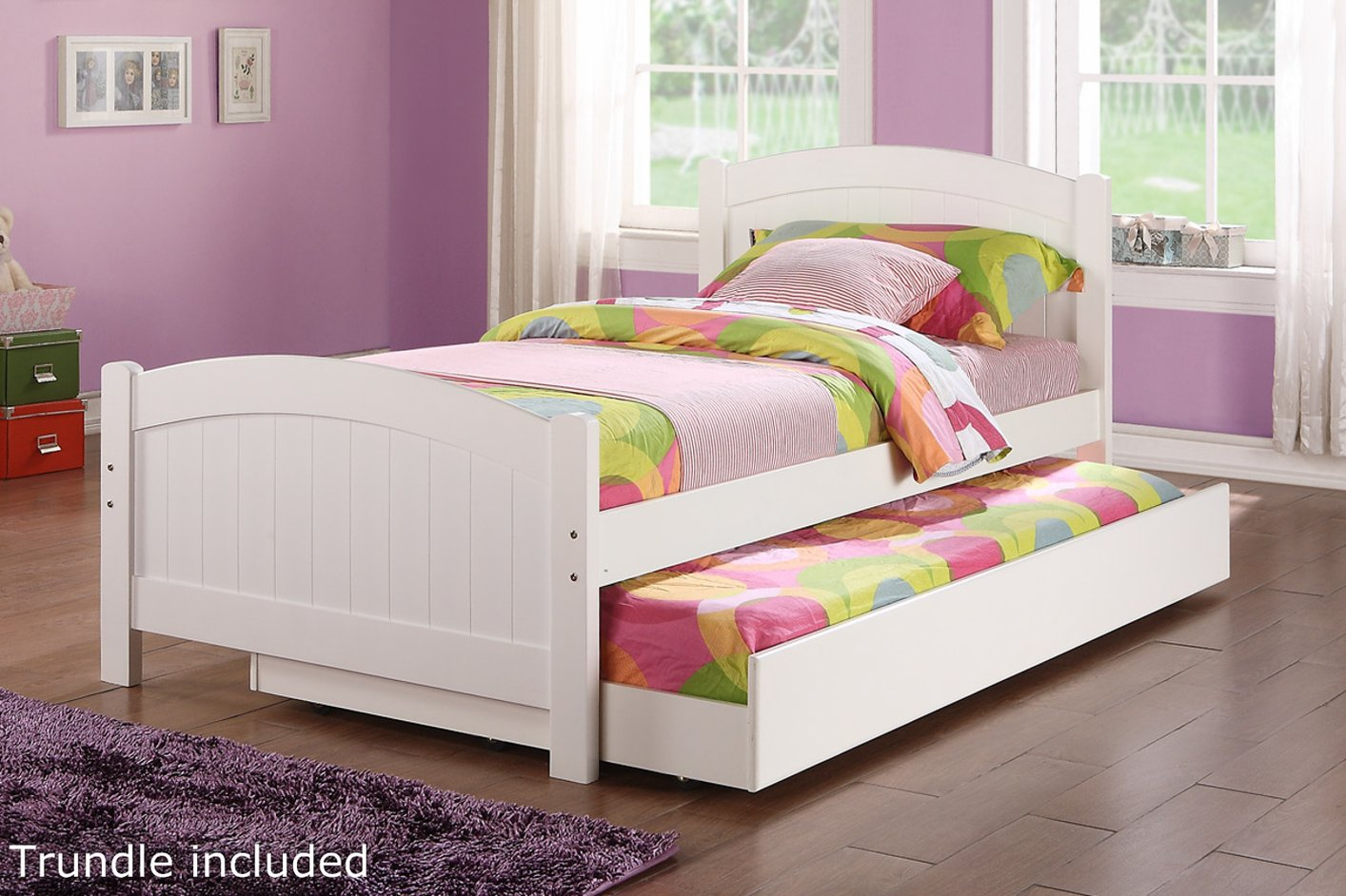 Poundex f9218 white twin size wood bed steal a sofa for Bedroom furniture 90036