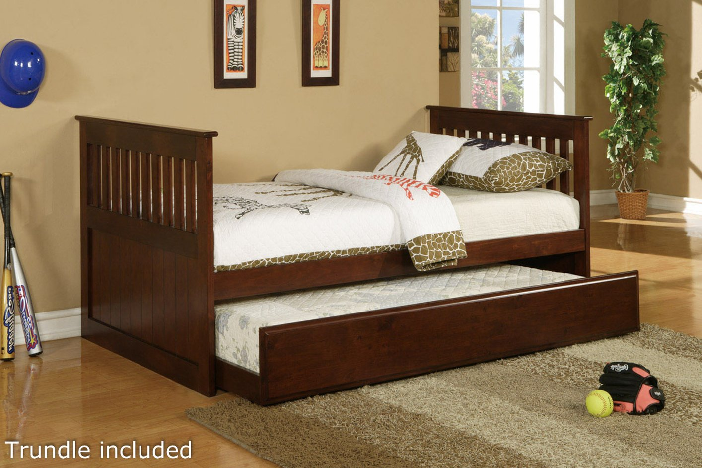 brown wood twin size bed - Twin Bed With Mattress Included