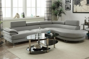 Valentina Grey Leather Sectional Sofa