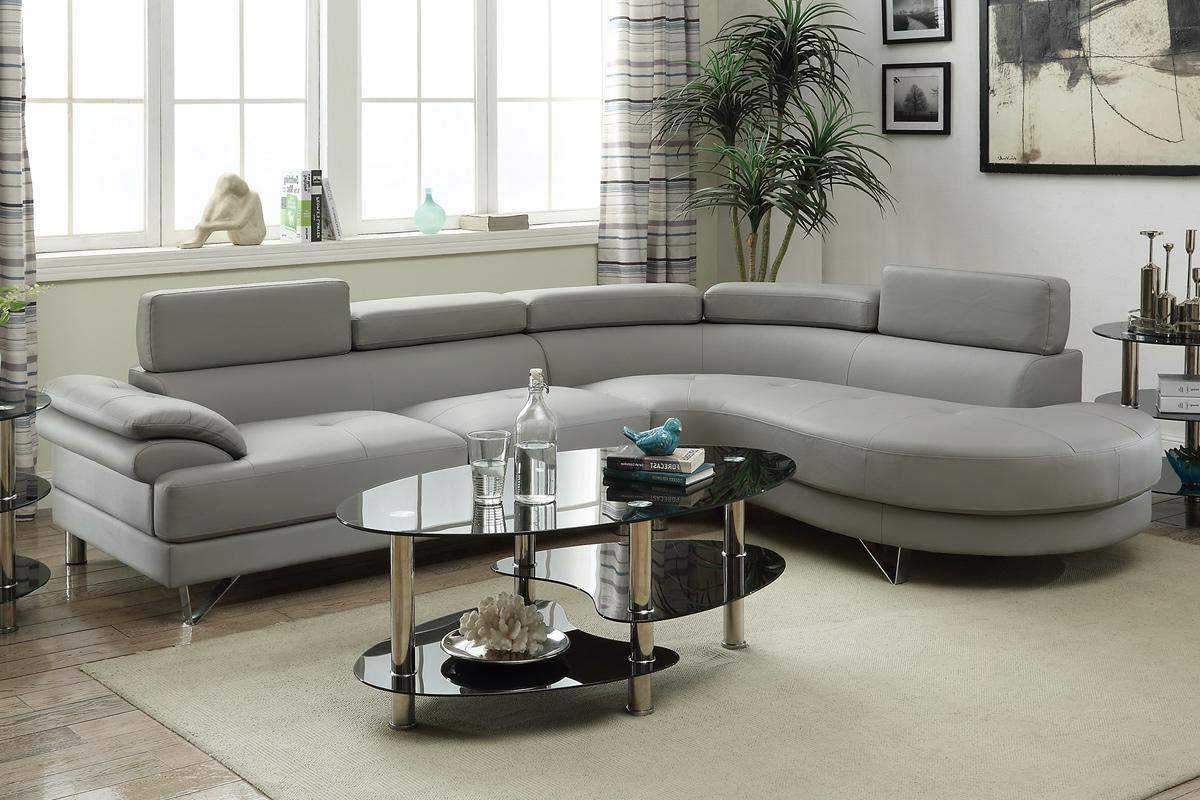 Delicieux Valentina Grey Leather Sectional Sofa