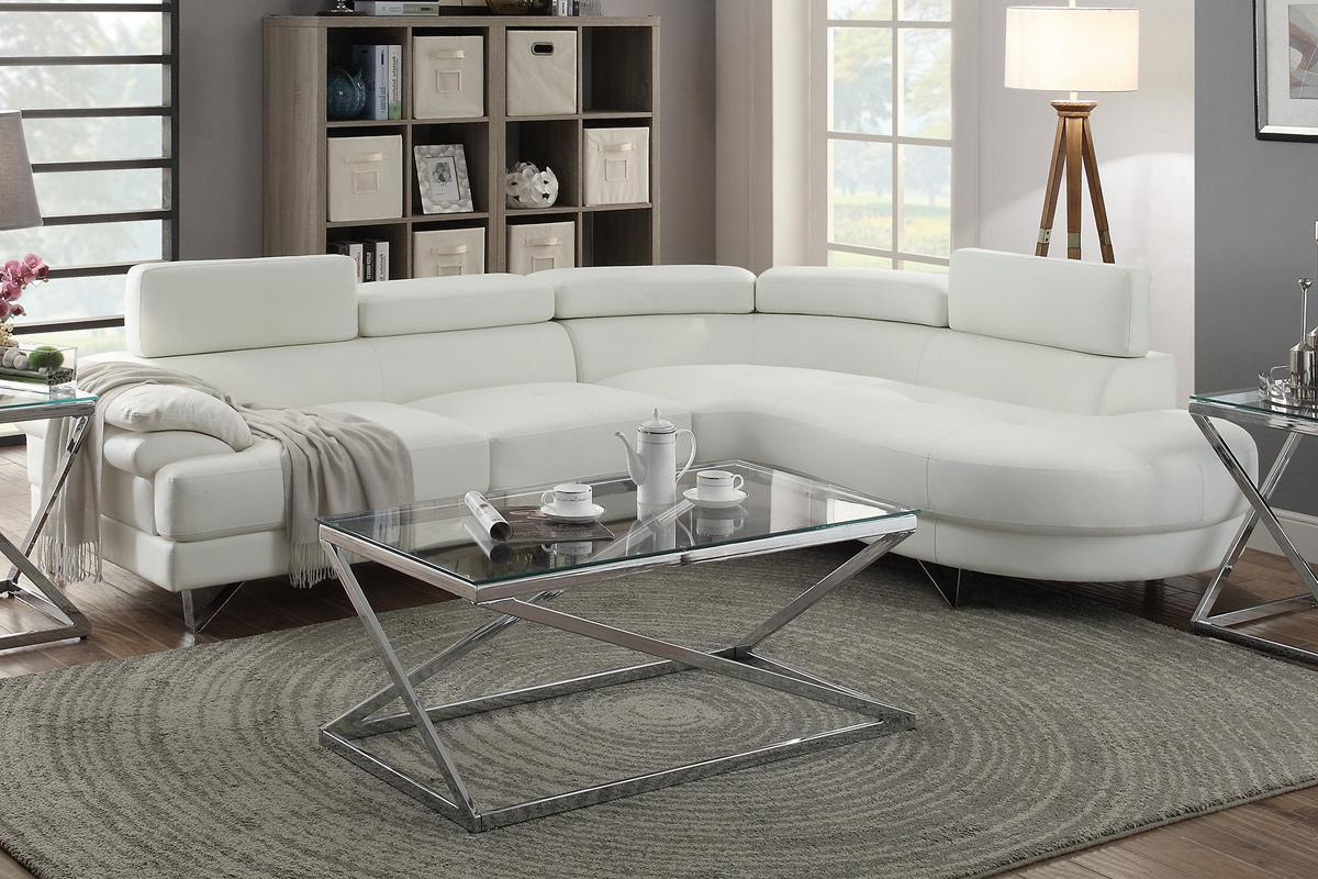 Valentina White Leather Sectional Sofa