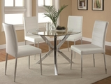 Vance White Metal Dining Table and Chair Set