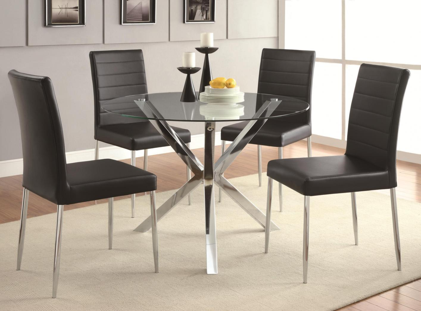 Coaster Vance 120760 Silver Metal Dining Table StealASofa