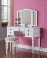 Beige Wood Vanity Set with Stool