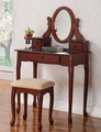 Brown Wood Vanity Set with Stool