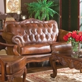 Victoria Brown Leather Loveseat