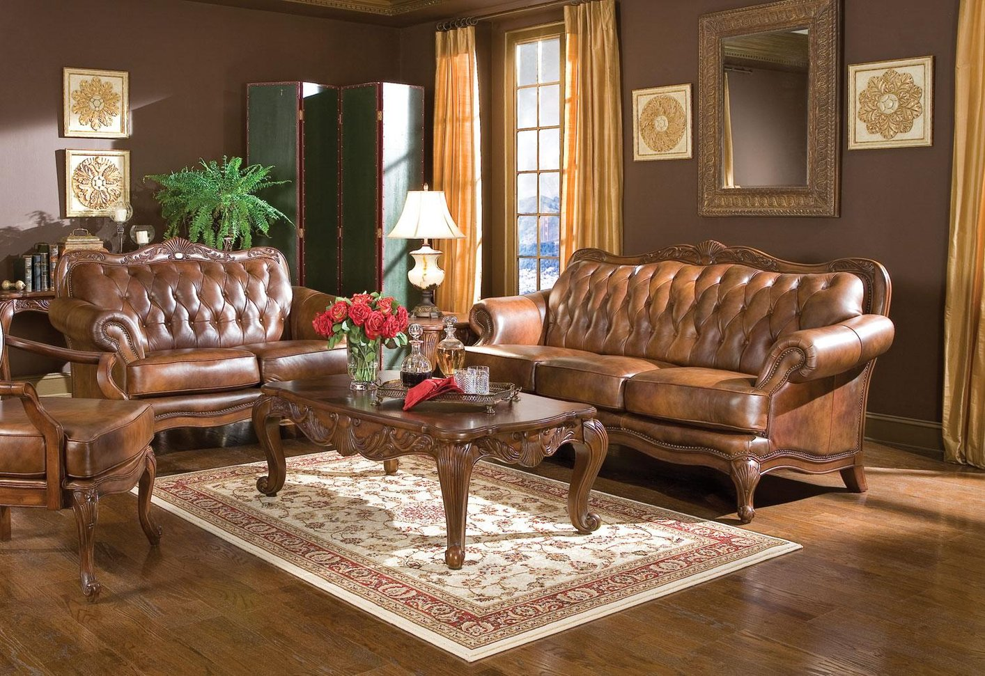 Superior Victoria Brown Leather Sofa And Loveseat Set
