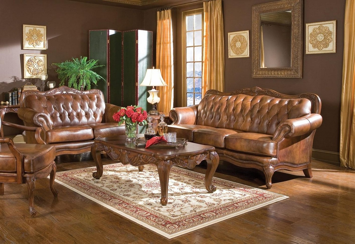 Coaster Victoria 500681 500682 Brown Leather Sofa and Loveseat Set