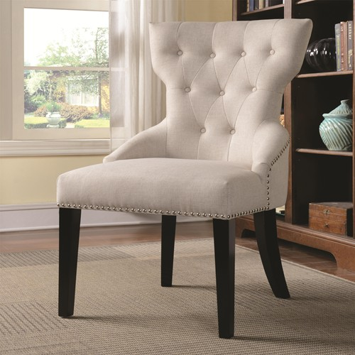 Superieur White Fabric Accent Chair