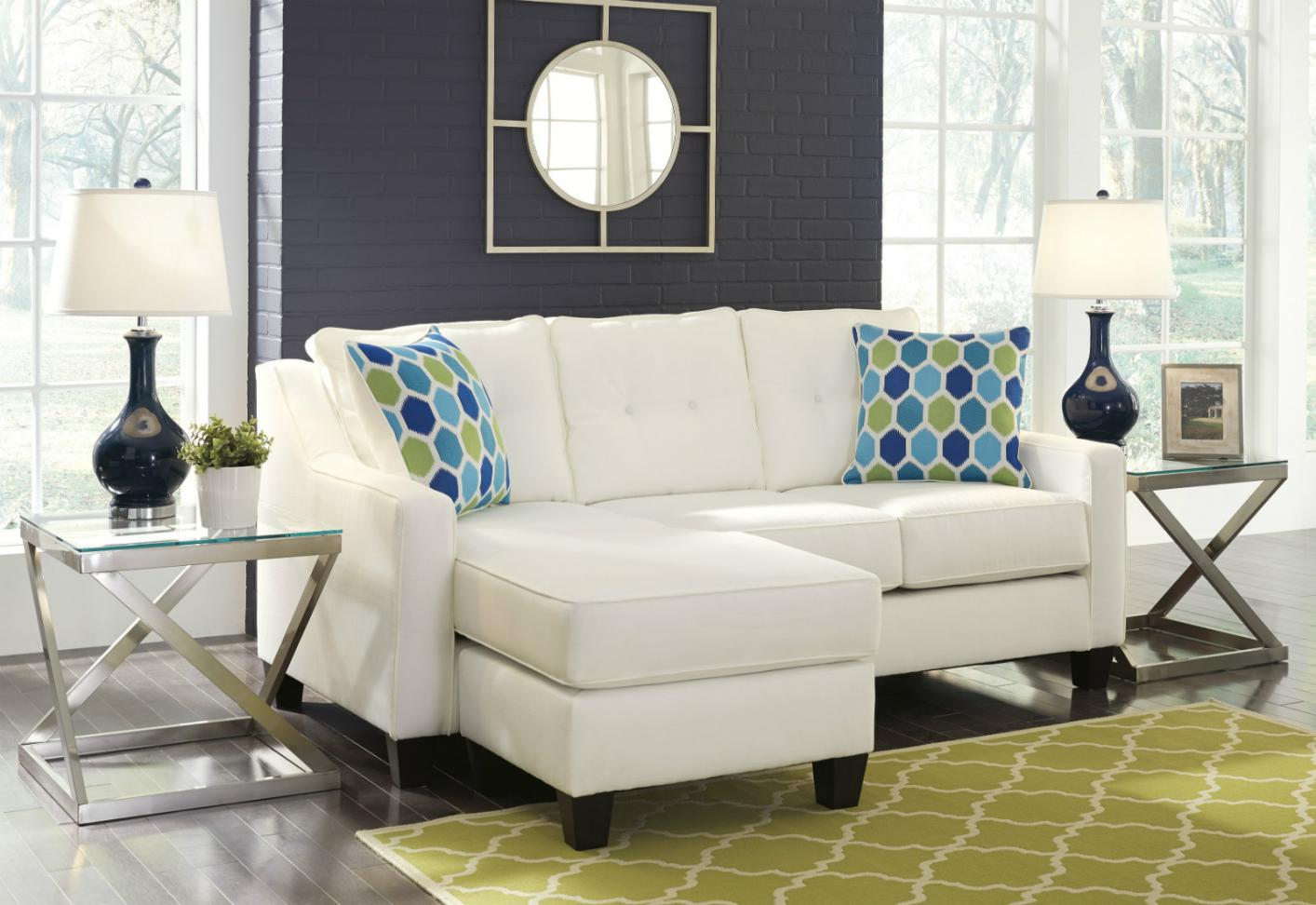 Etonnant White Fabric Sectional Sofa