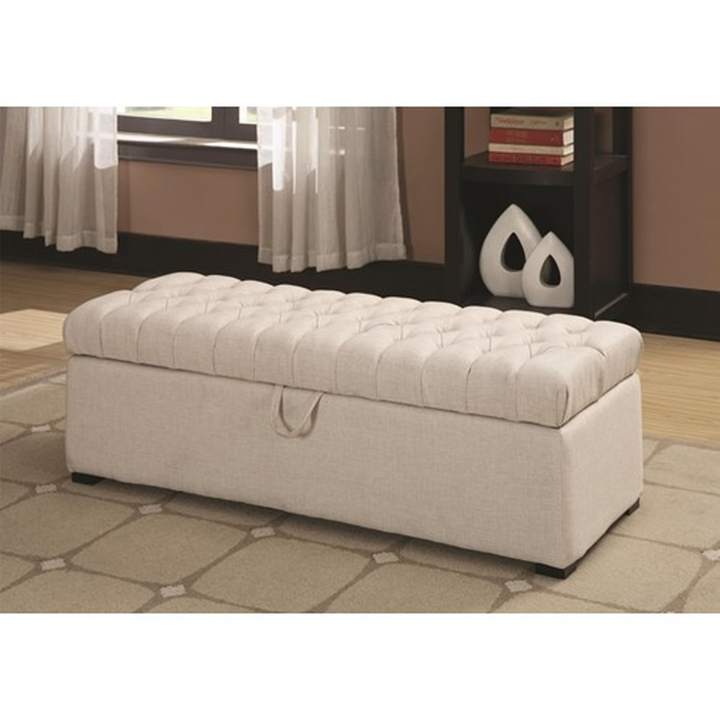 White fabric storage bench steal a sofa furniture outlet for Bedroom furniture 90036