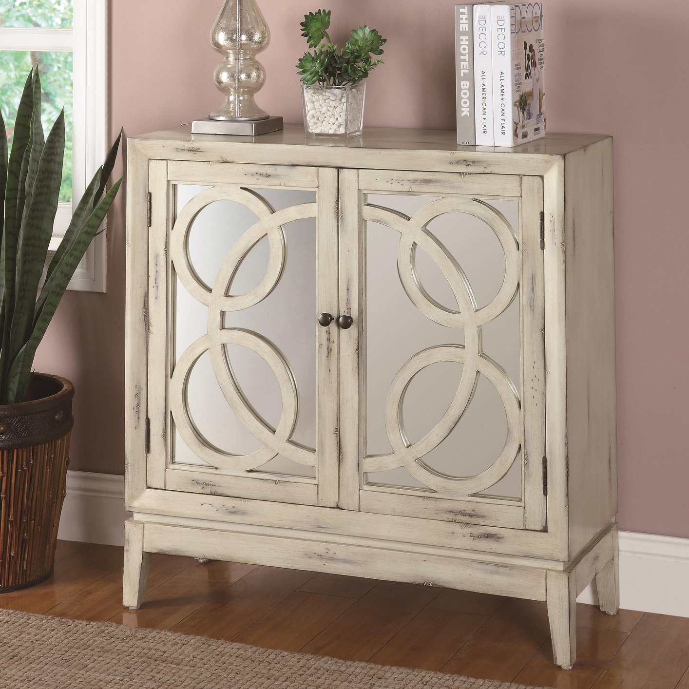 Merveilleux White Glass Accent Cabinet