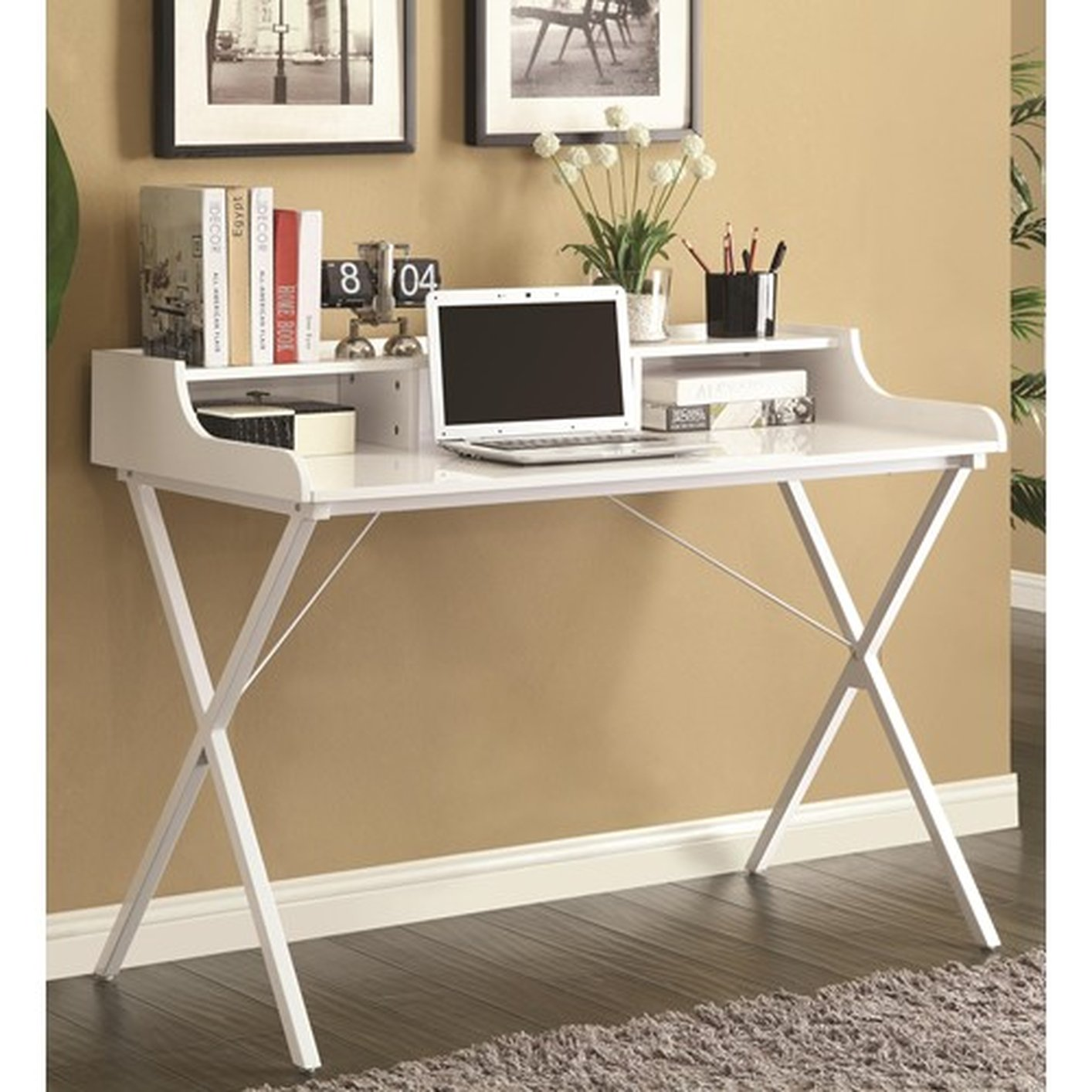 White Glass Top Desk Hostgarcia
