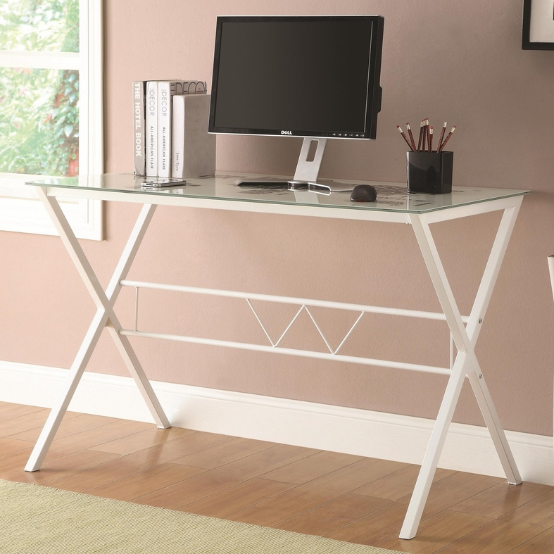 Coaster 800406 White Glass Office Desk Steal A Sofa
