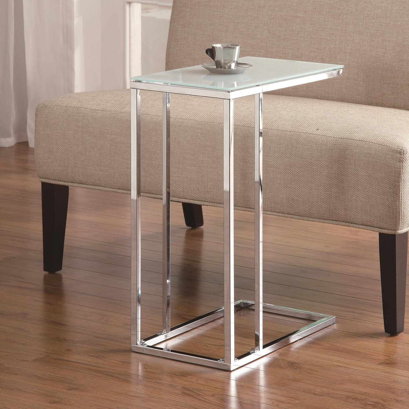 White Glass Snack Table Steal A Sofa Furniture Outlet Los Angeles CA