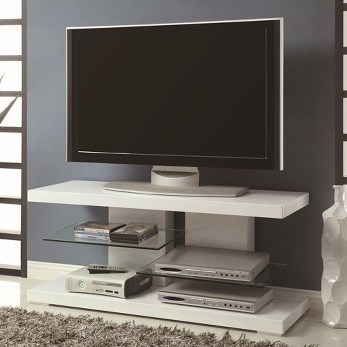 White Glass Tv Stand Steal A Sofa Furniture Outlet Los