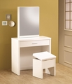 White Wood Vanity Set with Stool