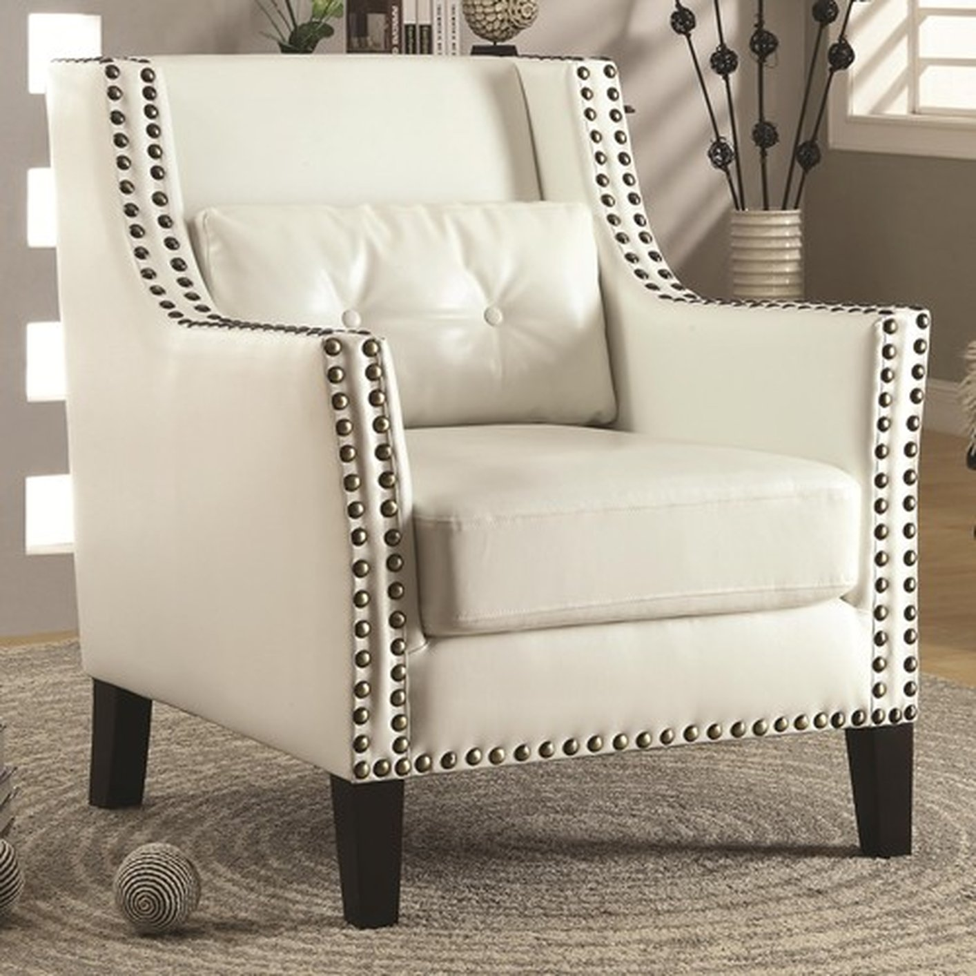 Coaster 902225 White Leather Accent Chair Steal A Sofa