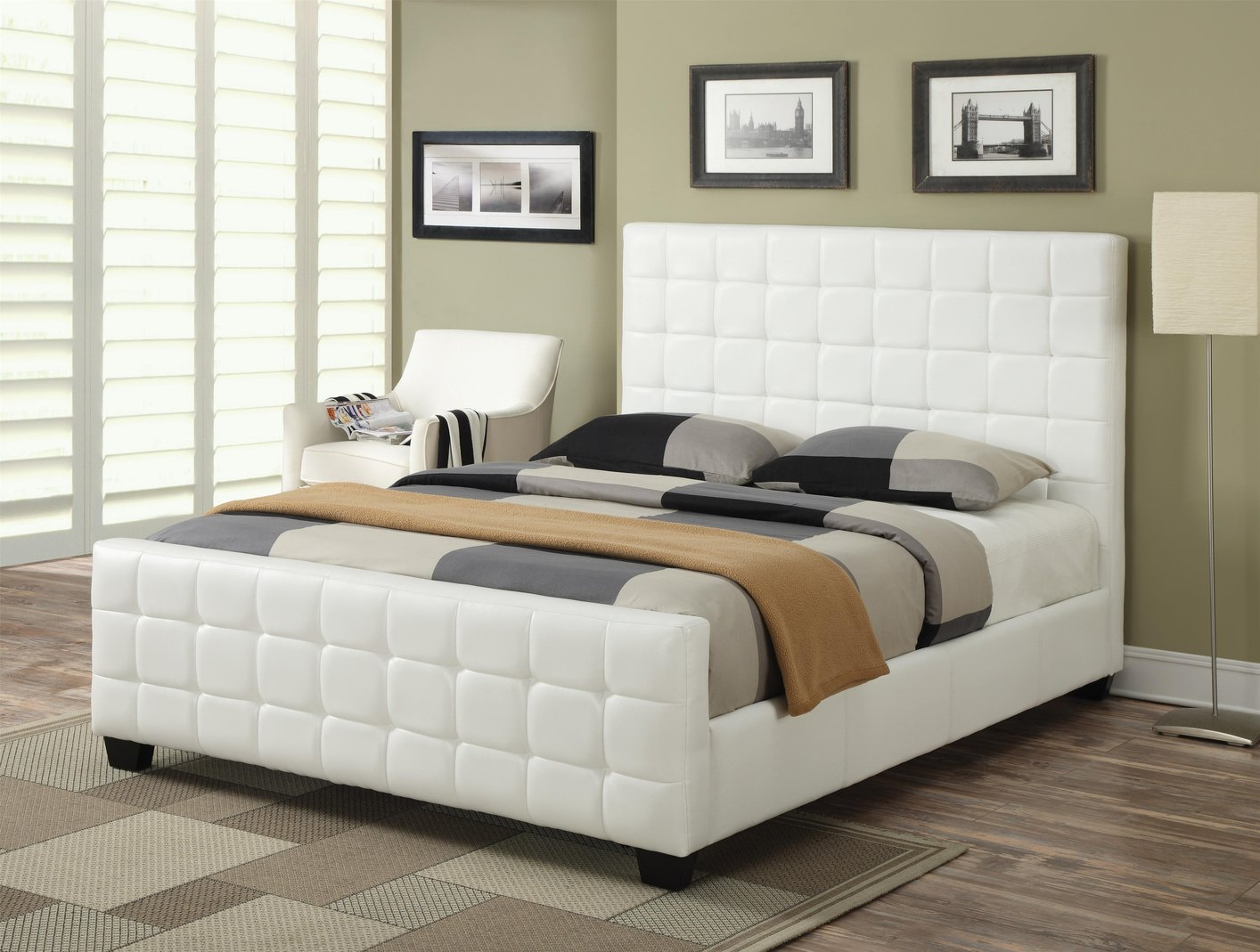 Coaster 300040kw white california king size leather bed for Cal king bed size