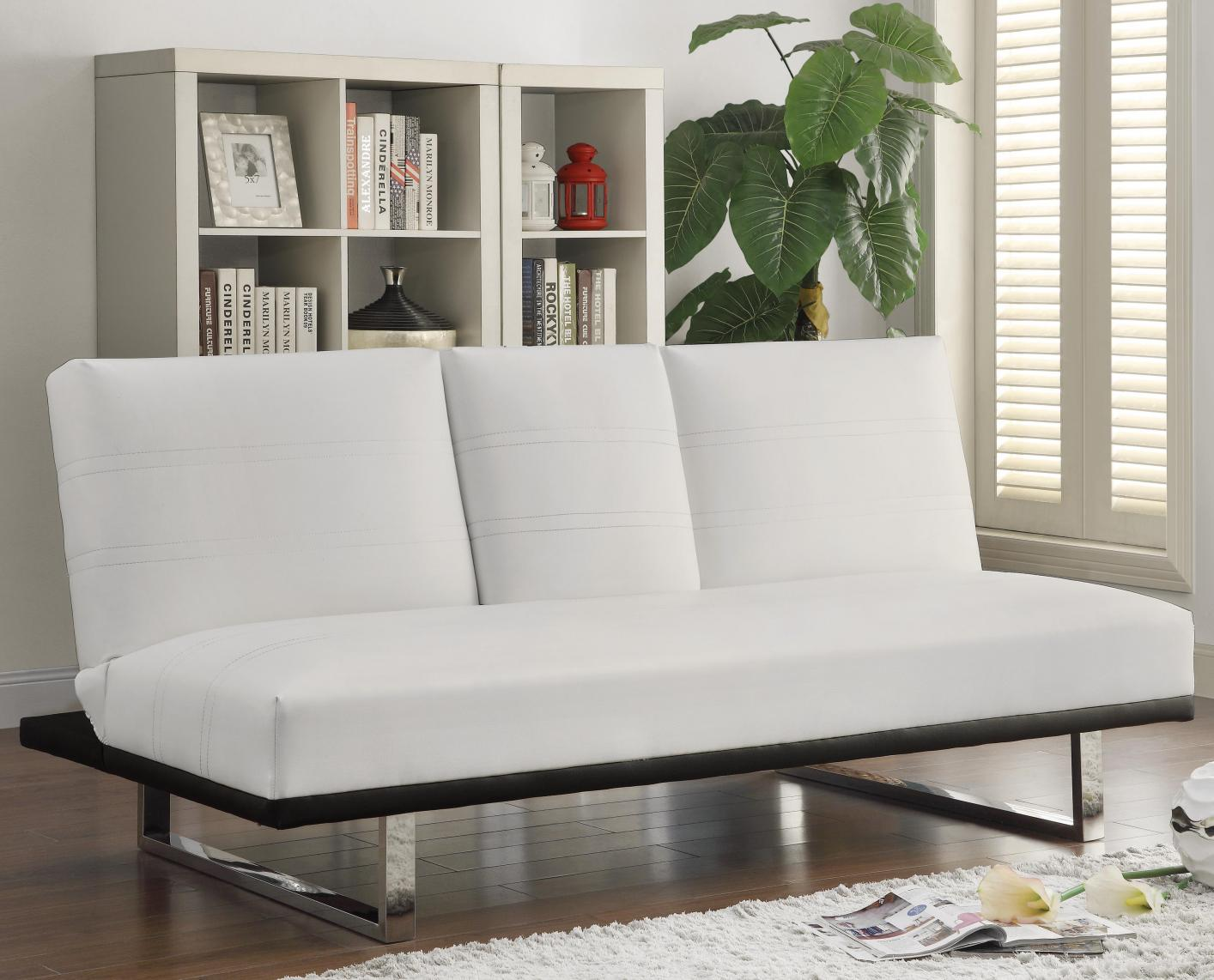 White Leather Futon Steal A Sofa Furniture Outlet Los