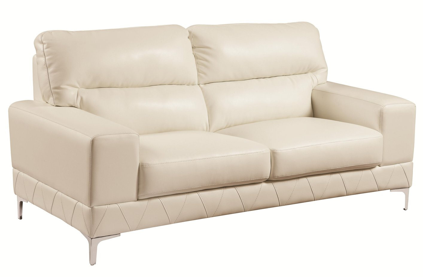 Coaster Benjamin 503818 White Leather Loveseat Steal A Sofa Furniture Outlet Los Angeles Ca
