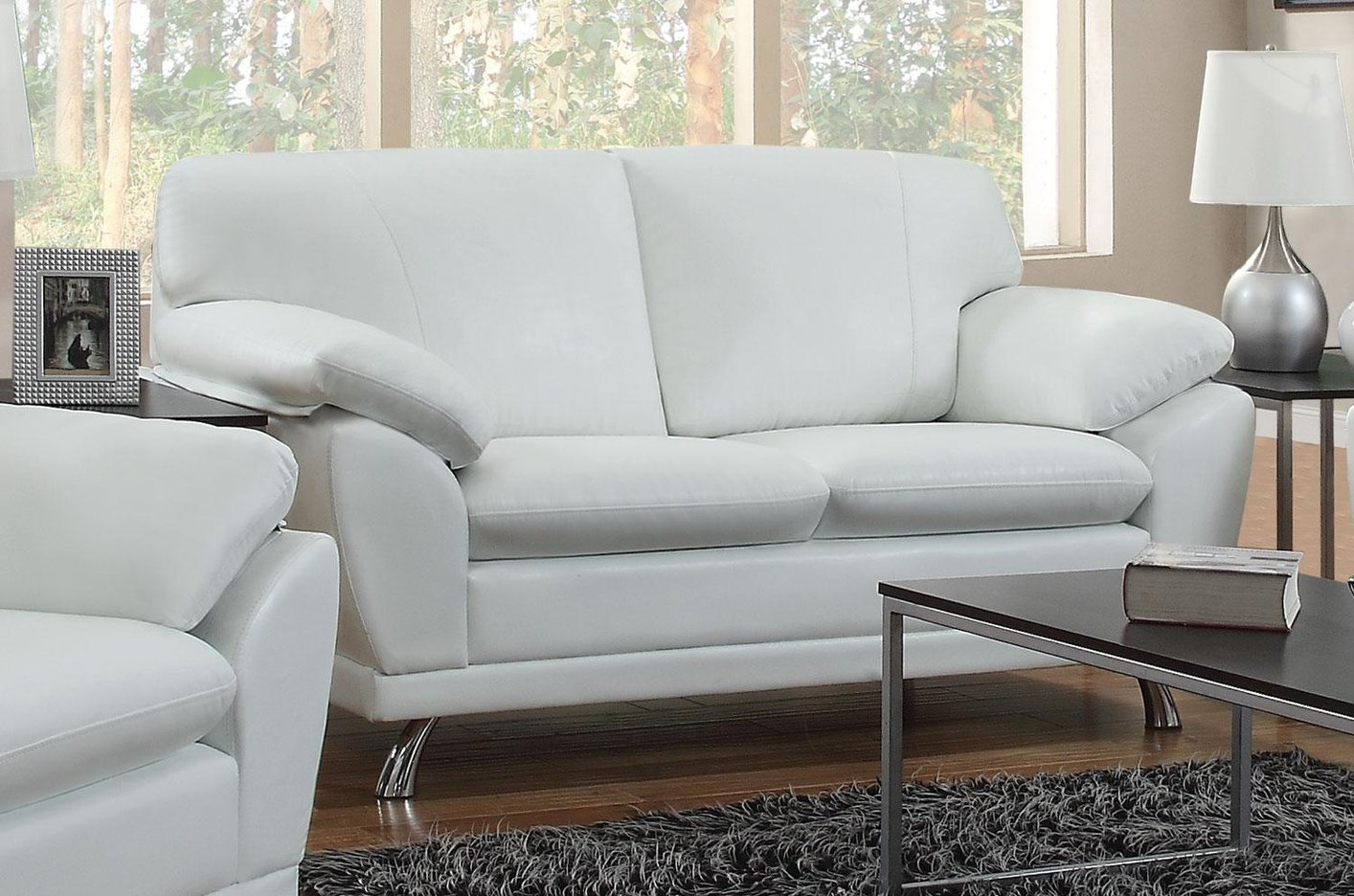 Robyn White Leather Loveseat