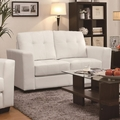 Enright White Leather Loveseat