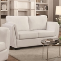 Lois White Leather Loveseat