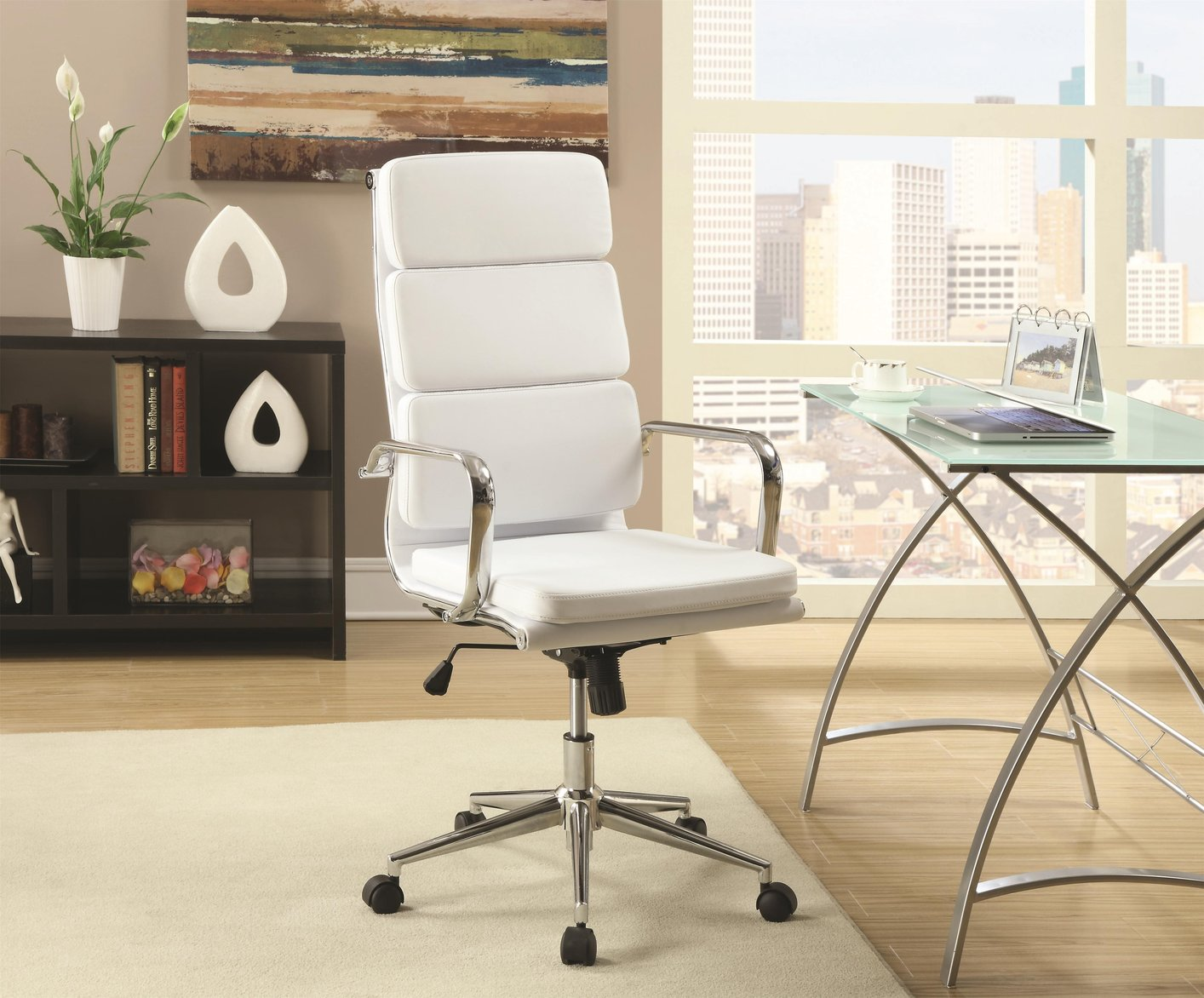 Perfect White Leather Office Chair