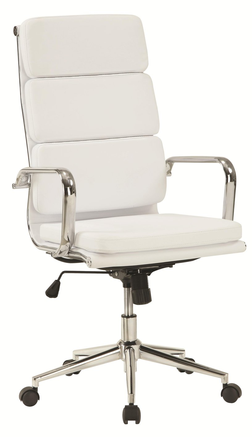 Coaster 800837 White Leather Office Chair Steal A Sofa