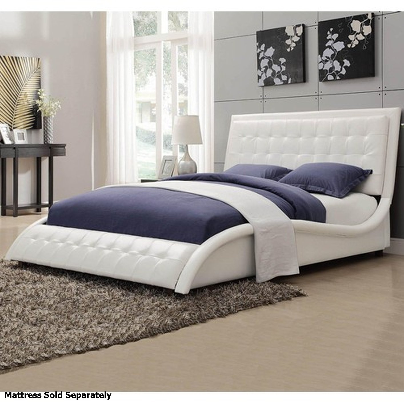 Coaster tully 300372q white queen size leather bed steal for Bedroom furniture 90036