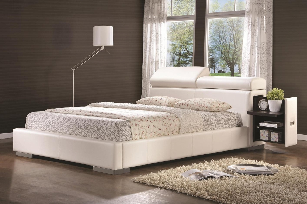 white leather queen size bed frame