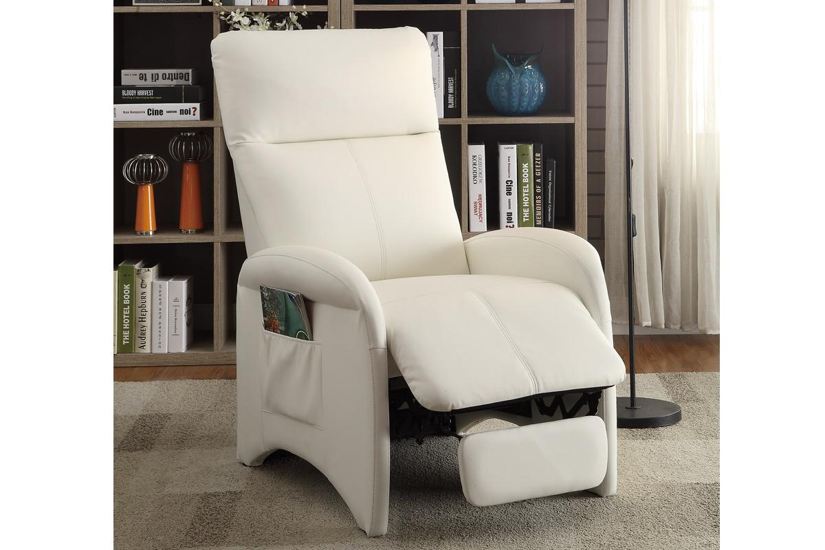 White leather reclining chair steal a sofa furniture for Furniture 90036