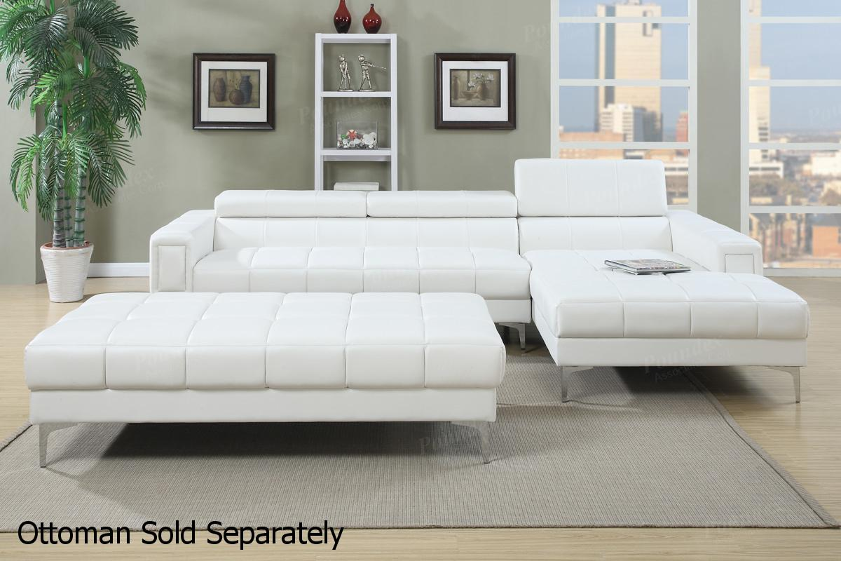 White Leather Sectional Sofa - Steal-A-Sofa Furniture Outlet Los ...