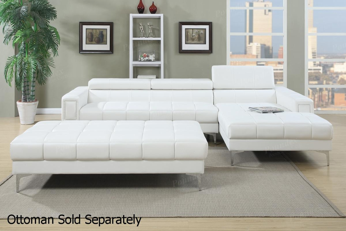 Merveilleux Chester White Leather Sectional Sofa