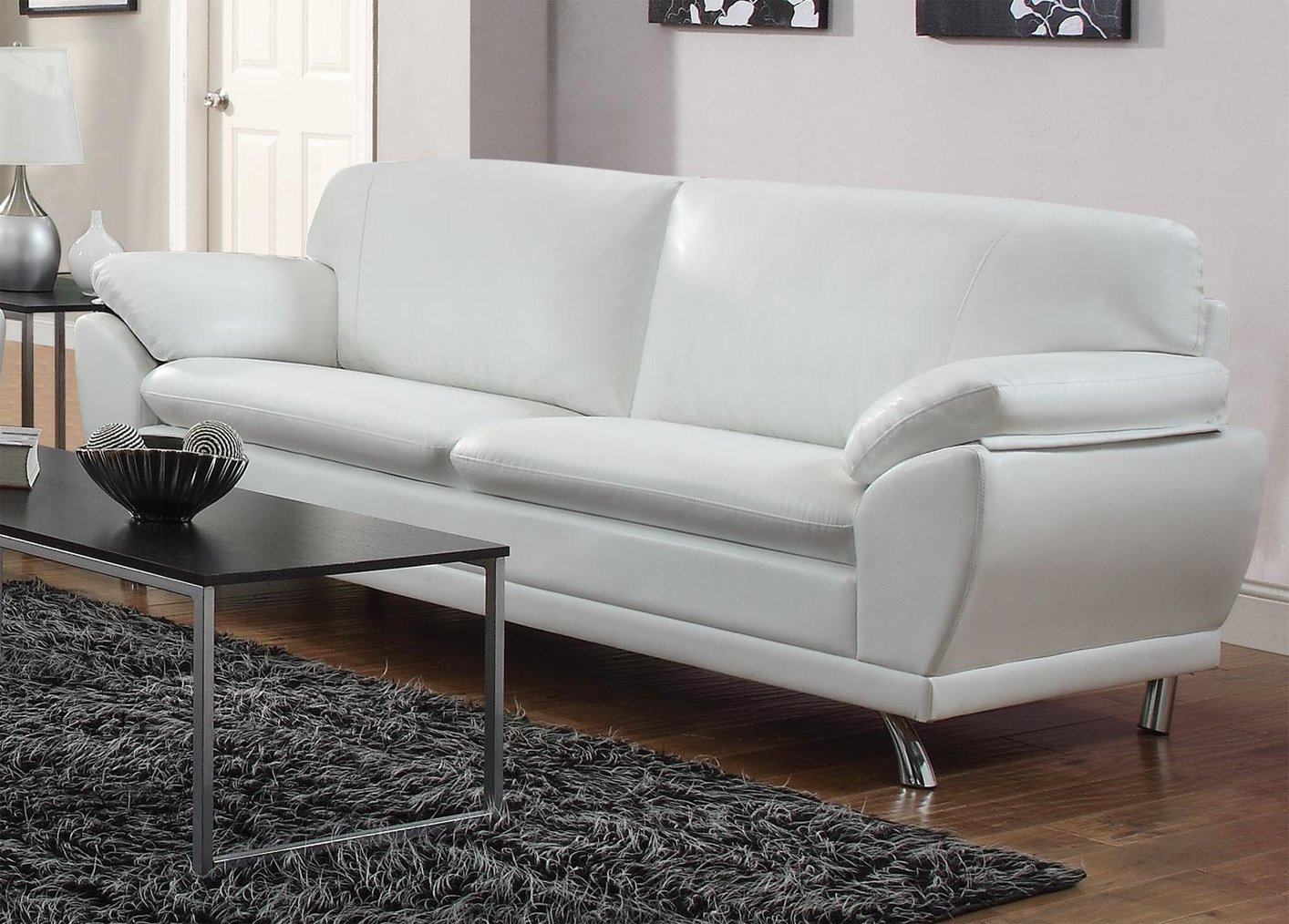 Robyn white leather sofa steal a sofa furniture outlet for White on white furniture