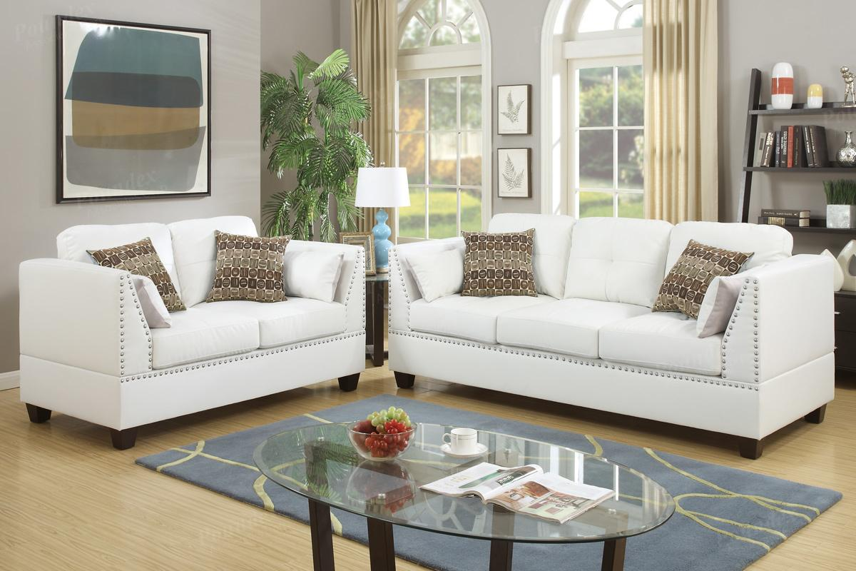 Merveilleux Barlo White Leather Sofa And Loveseat Set