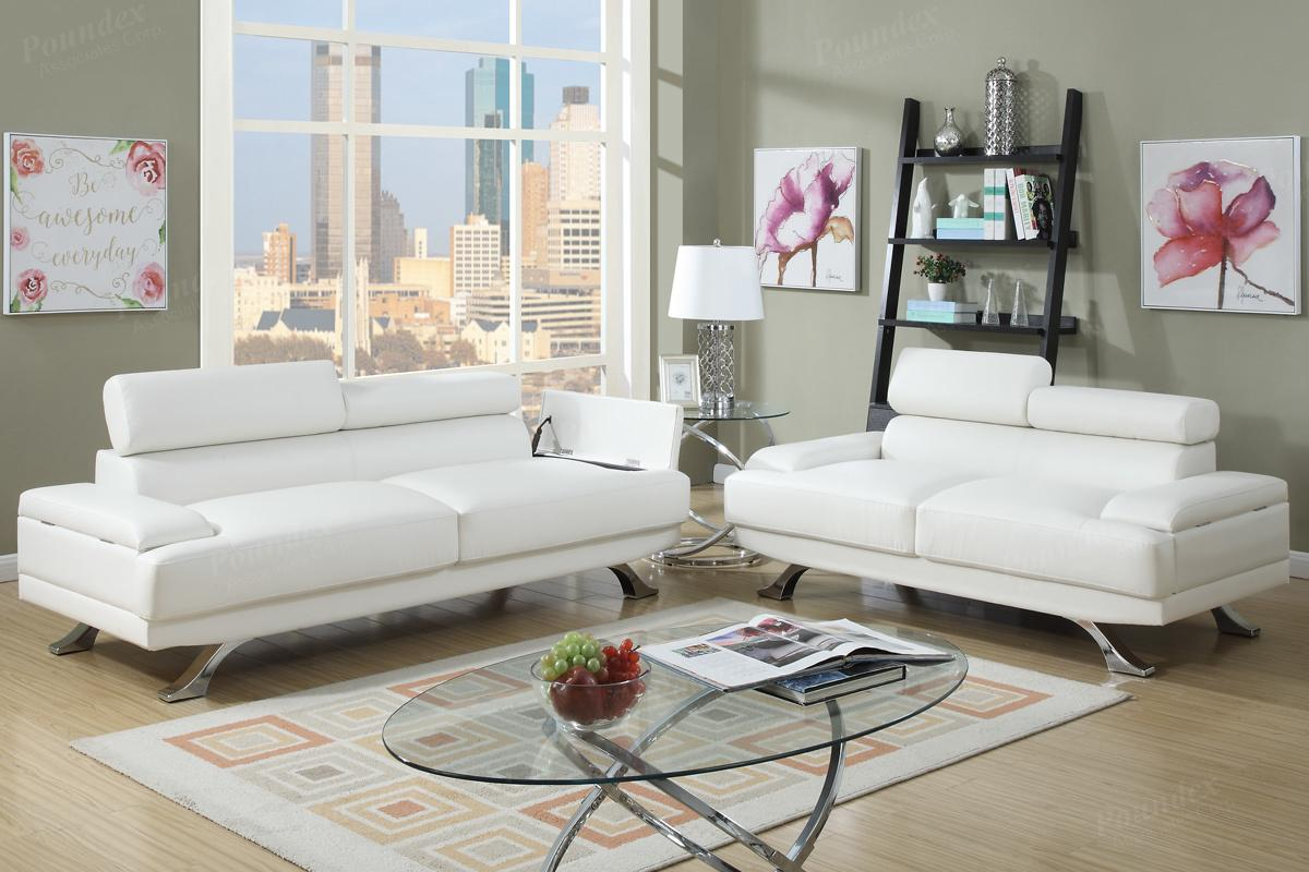 Boyn White Leather Sofa And Loveseat Set