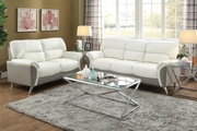 Hercules White Leather Sofa and Loveseat Set