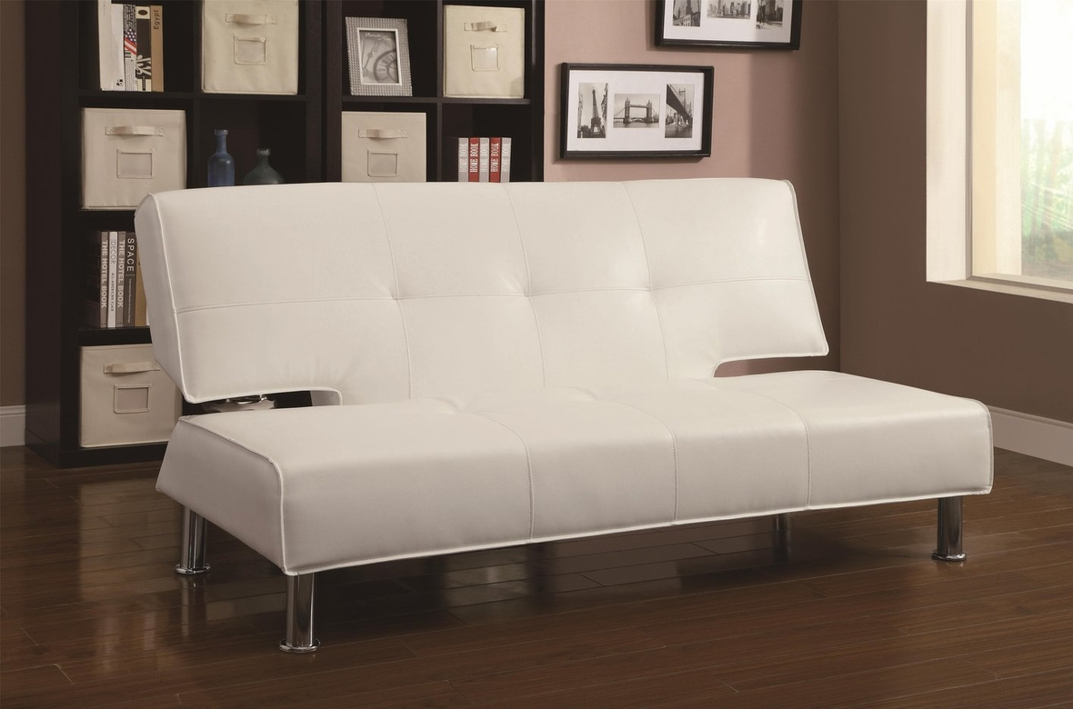 coaster 300296 white leather sofa bed steal a sofa furniture outlet los angeles ca. Black Bedroom Furniture Sets. Home Design Ideas