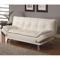 Dilleston White Leather Sofa Bed
