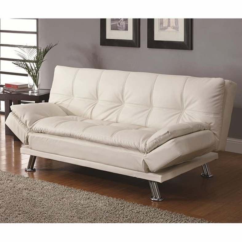 Coaster dilleston 300291 white leather sofa bed steal a for Sofa bed los angeles