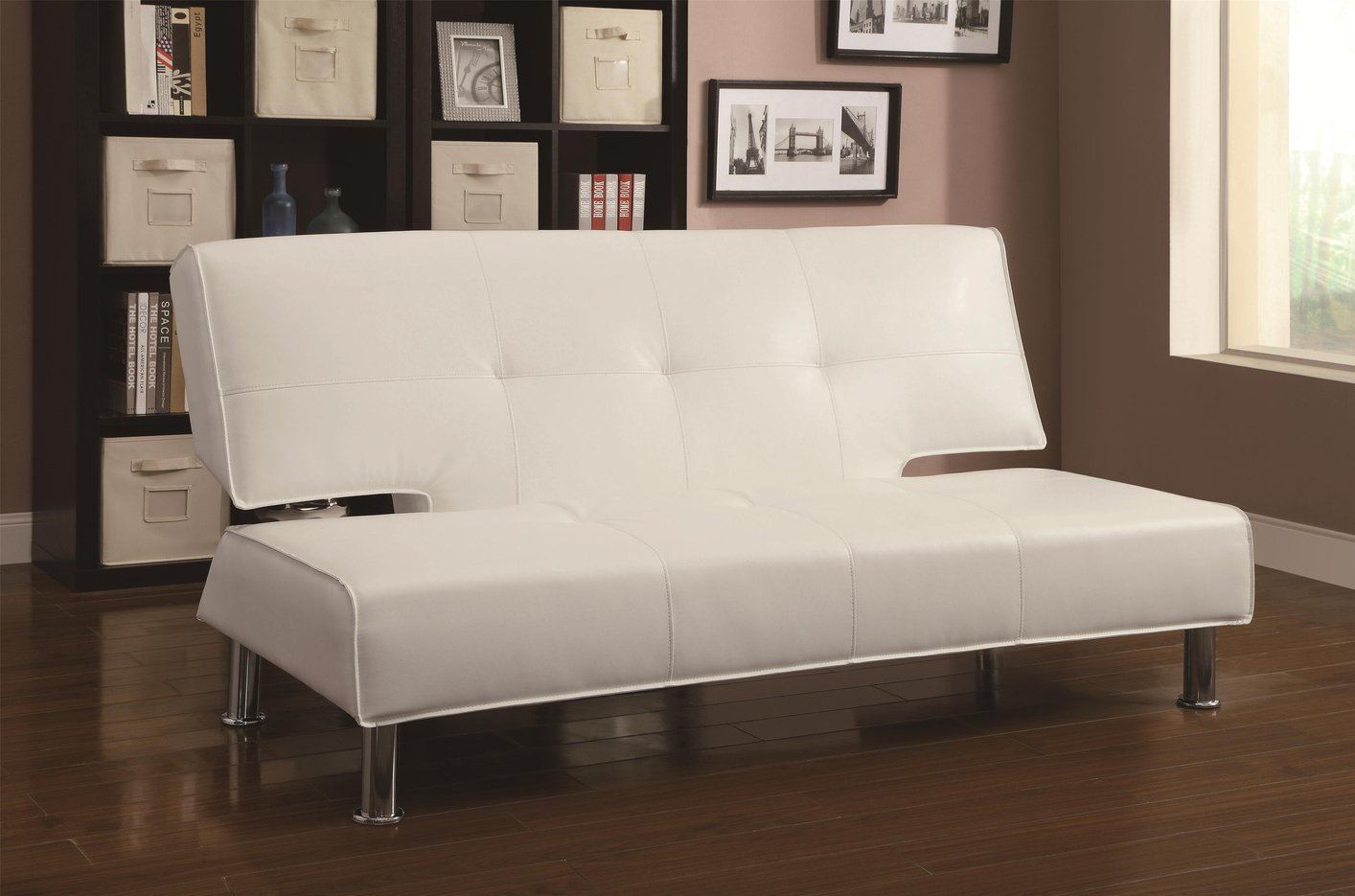 Coaster 300296 white leather sofa bed steal a sofa for White divan bed