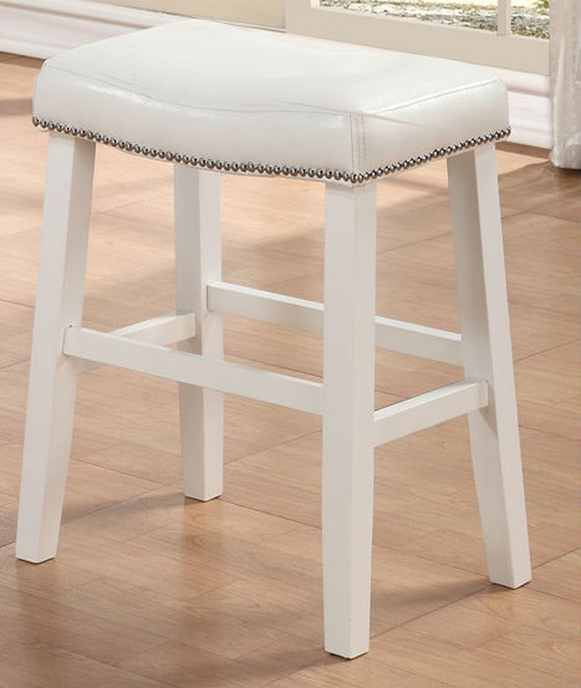 poundex f1226 white leather stool - steal-a-sofa furniture outlet